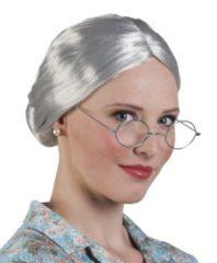 Boland pruik Granny dames grijs