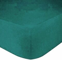 Bed Care Jersey Stretch Hoeslaken - 140x200 - 100% Katoen - 30CM Hoekhoogte - Goen/Blauw