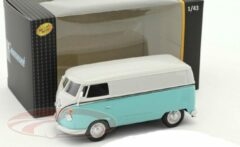 Turquoise Volkswagen Transporter Bus (Lichtblauw/Wit) 1/43 Cararama - Modelauto - Schaalmodel - Model Auto