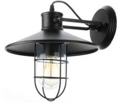 Groenovatie Maritieme Industriële Design Wandlamp E27 Fitting - 250x270x270 mm - Waterdicht - Zwart