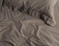 Katoensatijn Zijdezachte Katoen/Satijn Eenpersoons Hoeslaken Taupe | 80x200 | Glazend En Luxe | Ademend En Duuzaam