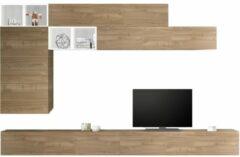 Pesaro Mobilia TV-wandmeubel set Sako in hoogglans wit met eiken