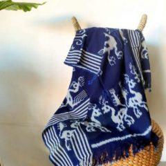 Nusa Originals - Luxe Handgemaakte Sprei Sunda - Duurzaam - Fairtrade - Blauw - 240x120cm