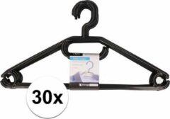 Merkloos / Sans marque 30x plastic kledinghangers zwart