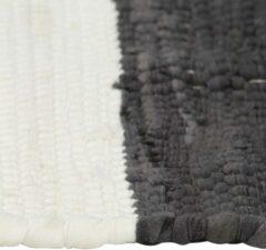 Grijze VidaXL Placemats 4 st chindi gestreept 30x45 cm antraciet en wit