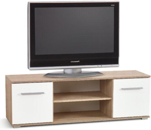 Afbeelding van Home Style Tv-meubel Lima 137 cm breed in Sonoma eiken met hoogglans wit