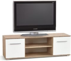 Home Style Tv-meubel Lima 137 cm breed in Sonoma eiken met hoogglans wit