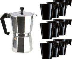 Merkloos / Sans marque Zilveren percolator/espresso koffie apparaat met 9x zwarte kopjes - Koffiezetapparaat met mokken - Koffiepercolator