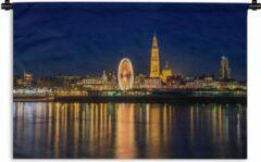 1001Tapestries Wandkleed Antwerpen - Skyline van Antwerpen 's nachts Wandkleed katoen 150x100 cm - Wandtapijt met foto