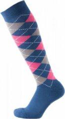 Pfiff sokken - Ruitersokken Donkerblauw - Grijs - Roze - Sportsokken - Paardrijden - Unisex sokken - Kniesokken - Maat 40-42