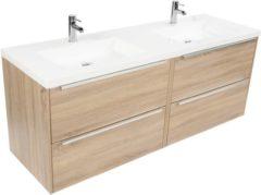 Saniselect Socan meubelset 4 lades met dubbele mineraalmarmere wastafel 160cm Bardolino Eiken