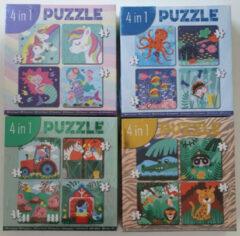 Massamarkt 4-in-1 puzzel (4/6/9/12 stukjes)
