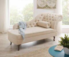 DELIFE Chaise longue Patsy beige 185x75 cm Chesterfield met kussen gestikt Recamiere