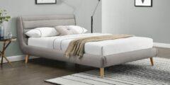 Home Style Tweepersoonsbed Elanda 140x200cm in lichtgrijs