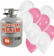 Shoppartners Helium tank met lichtroze en witte ballonnen - Geboorte - Heliumgas met ballonnen meisje geboren voor babyshower