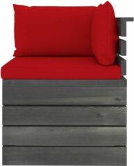Rode VidaXL Tuinbank 2-zits met kussens pallet massief grenenhout
