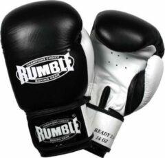 Rumble Ready 2.0 Leer (kick)bokshandschoen Zwart-Wit 14 Oz