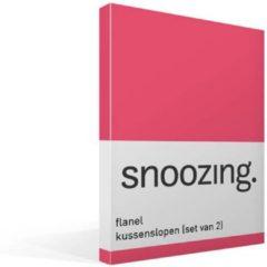 Snoozing flanel kussenslopen (set van 2) - 100% geruwde flanel-katoen - 60x70 cm - Standaardmaat - Roze
