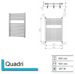 Douche Concurrent Designradiator Plieger Quadro 50x69.5cm 307 Watt Wit Zijaansluiting