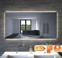 Grijze Designspiegels.nl Badkamerspiegel met indirecte verlichting, verwarming, touch sensor en dimfunctie 120x70 cm