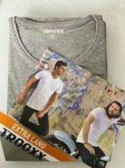 Grijze Trooxx T-shirt 3x 2 pack, 6 stuks Extra Long - Round Neck - Kleur: Grey - Maat: M