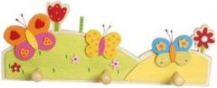 Rode Simply for kids Houten kapstok vlinder met 3 pennen