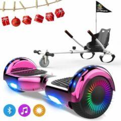 Evercross 6.5 inch Hoverboard met Flits Wielen, Elektrische Zelfbalancerende Scooter + TAOTAO moederbord,Bluetooth Speaker,LED verlichting - Roze Chroom + Hoverkart Wit