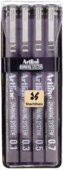 Zwarte Merkloos / Sans marque Fineliner Drawing System etui van 4 stuks: 01 - 03 - 05 en 07 mm