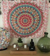 Mandala kleed - tafelkleed - 95 x 75 cm - wandkleed - zachtgeel-rood