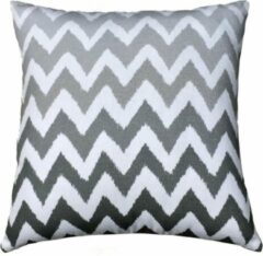 ECO COLLECTION Sierkussen Zigzag Grijs 45x45cm. Handgemaakt & Fairtrade