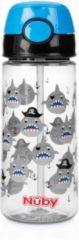 Nûby - Beker met Zacht Rietje en Drukknop uit Tritan™ - 530ml - Blauw - Haaien