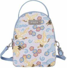 Blauwe Signare Mini Backpack - Schoudertas - Japanese Crane - Japanse Kraanvogel