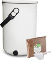 Witte Skaza Exceeding Expectations Skaza Bokashi Organko 2 | Gerenommeerde keukencompostbak van gerecycled plastic | 9.6 L | Starter Set voor keukenafval en compostering | met EM zemelen 1 kg | Kleur