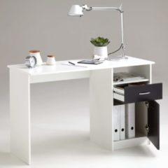 FMD Bureau met 1 lade 123x50x76,5 cm wit en zwart
