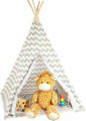 Grijze Relaxdays tipi tent kinderen - wigwam speeltent - indianentent - speeltent kind - wit