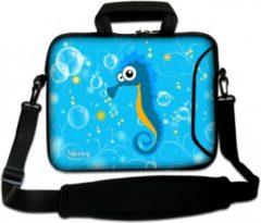 Blauwe Sleevy 17,3 laptoptas zeepaardje - laptophoes voorvak - laptop sleeve - smalle laptoptas - reistas - schoudertas - schooltas - heren dames tas - tas laptop