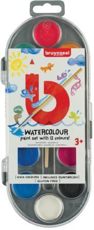 Afbeelding van Bruynzeel Kids waterverf, set van 12 geassorteerde kleuren, in ophangbaar doosje