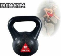 Zwarte Iron Gym Kettlebell 12 kg Gewichten - Thuis sporten - Fitness