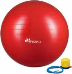 Tresko Fitnessbal met pomp - diameter 75 cm - Rood