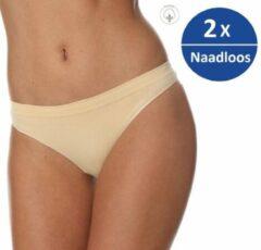 Brubeck Dames Ondergoed String - Naadloos Elastisch Katoen - 2 Pack - Beige - XL
