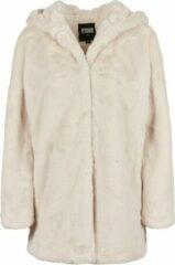 Gebroken-witte Urban classics Teddy - Coat - Hooded - Fake rabbit fur - extra zacht - capuchon - streetwear - Urban - Casual - Modern - Nieuw Hooded Teddy Dames Parka Maat 3XL