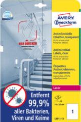 Bedrukbaar antimicrobiëel etiket Zweckform 210x297mm, transp. 10 etiketten, 10 vel, perm.
