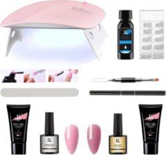 PEACHY  ® PEACHY ® Premium POLYGEL Kit- Mini UV Led Lamp- 2 Kleuren Roze/Cameo Brown 30gr- Nageldroger- Gellak- Nagellak set- Kit Polygel Starterspakket- Poly Gel Starterpack Start pakket- Manicure set - Gel Nagellakset- Nagel Verlenging- Nail Extentie- P