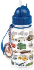 Blauwe Rex London - Drinkfles Vintage Voertuigen - Mooie Vintage Rietjesbeker met mooie vintage transport print