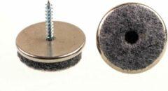 Verlofix Viltglijder Met Schroef Diameter 20mm Chroom 4stuks