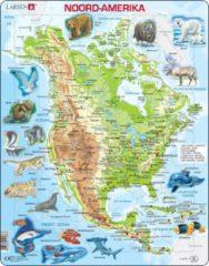 Larsen Puzzel Maxi Kaart - Noord Amerika Geografisch met Dieren - 66 stukjes