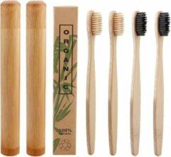Creme witte Btp Bamboe tandenborstels |Set Van 4 Tandenborstels Plus 2 Bamboe Kokers| Medium soft | Biologisch Afbreekbaar | 2 Creme - 2 Zwart|