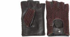 Pothelm.nl Vintage vingerloze crochet leren handschoenen zwart-bruin   maat M