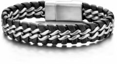 Frank 1967 7FB-0062 Armband staal/leder 15 mm zwart 21 cm