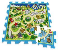 Blauwe Stamp vloerpuzzel Track groen/blauw 9 delig